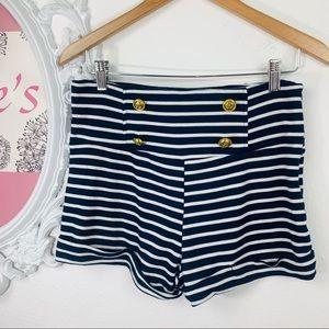 DNA Couture/ High-Waist Blue White Striped Short